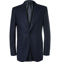 Tom Ford Blue Wool Flannel Suit Jacket Navy