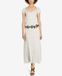 Polo Ralph Lauren Cotton Scoop Neck Maxi Dress Stone Henge Heather