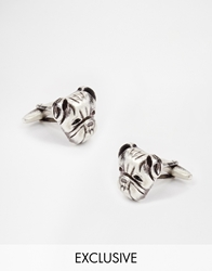 Designsix Bulldog Cufflinks Exclusive To Asos Silver