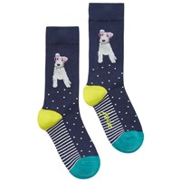 Joules Brill Bamboo Dog Print Ankle Socks Navy Multi