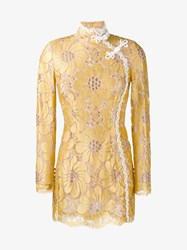 Alessandra Rich Floral Embroidered Mini Dress Yellow White