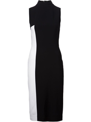 Tanya Taylor Contrasting Side Panel Fitted Dress Black
