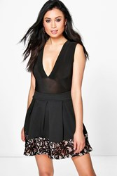 Boohoo Crochet Lace Trim Box Pleat Skater Skirt Black