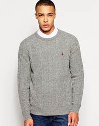 Jack Wills Marlow Jumper With Cable Knit Greymarl