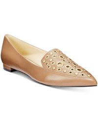 Nine West Akeelah Pointed Toe Grommet Flats Women's Shoes Natural Leather