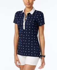 Tommy Hilfiger Printed Polo Top Core Navy