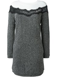 Twin Set Lace Insert Long Sleeve Dress Black