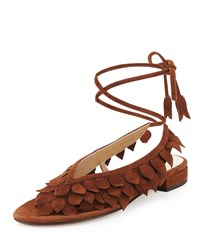 Valentina Carrano Flat Leaves Ankle Wrap Thong Sandal Cigar Brown Size 39.5B 9.5B