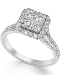 Macy's Square Diamond Cluster Engagement Ring 3 4 Ct. T.W. In 14K White Gold