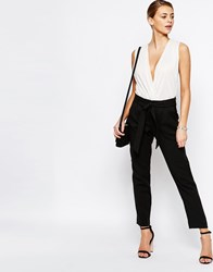 Oasis Belted Peg Trousers Black