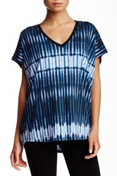 Vince Tie Dye Striped V Neck Tee Blue