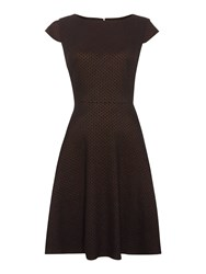 Dickins And Jones Metallic Jacquard Fit And Flare Dress Multi Coloured