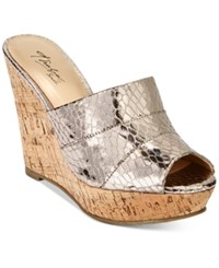Thalia Sodi Jadey Cork Wedge Sandals Only At Macy's Women's Shoes Pewter