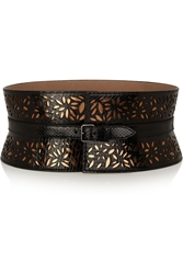 Alaa A Margarite Laser Cut Python And Metallic Leather Belt