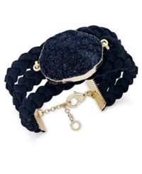 Inc International Concepts Druzy Crystal Faux Leather Cuff Bracelet Only At Macy's Black