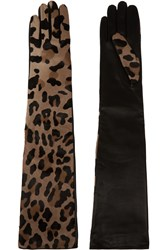 Causse Gantier Castiglione Leopard Print Calf Hair And Leather Gloves Animal Print