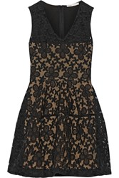 Maje Elvira Embroidered Organza And Cotton Blend Dress Black