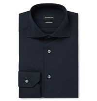 Ermenegildo Zegna Blue Slim Fit Cutaway Collar Trofeo Cotton Shirt Midnight Blue