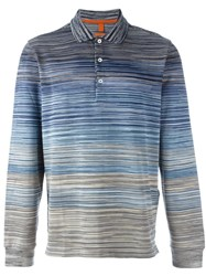 Missoni Gradient Striped Polo Shirt Blue