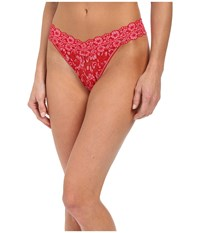 Hanky Panky Cross Dyed Signature Lace Original Rise Thong Red Lipgloss Women's Underwear