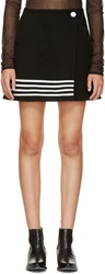 Paco Rabanne Black And White Wool Stripe Skirt