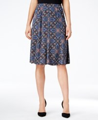 Ny Collection Petite Printed Pull On A Line Skirt Teal Trape