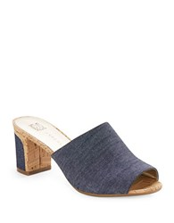 Anne Klein Carena Open Toe Cork Mules Denim