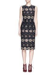 Givenchy Metallic Floral Embroidered Silk Sleeveless Dress Multi Colour