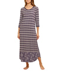 Ellen Tracy Patterned Long Nightgown Ivory Blue