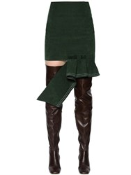 Jacquemus High Waist Ruffle Faux Suede Mini Skirt