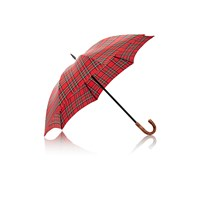 Barneys New York Plaid Stick Umbrella Red