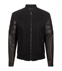 Versace Collection Leather Sleeved Jacket Male Black
