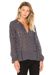 House Of Harlow X Revolve Sophie V Neck Blouse Navy