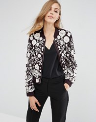 Needle And Thread Embroidery Motif Bomber Aubergine Ecru Purple