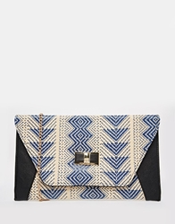 Liquorish Envelope Clutch Bag In Print Blue