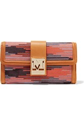 M Missoni Woven Cotton And Leather Wallet Brown