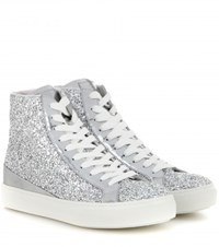 Tod's Sportivo High Top Glittered Sneakers Silver