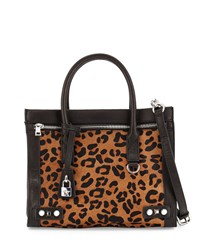 Ash Courtney Calf Hair Leather Satchel Bag Black Leopard