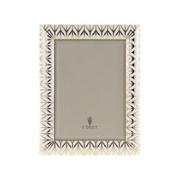 L'objet Chevron Frame Gold And White 5X7