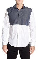 Men's Bogosse 'Oliver' Shaped Fit Long Sleeve Colorblock Sport Shirt