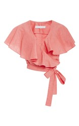 Christine Alcalay Solid Cotton Oxford Blouse Pink
