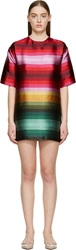 Valentino Red And Pink Satin Baladera Degrade Striped Tunic