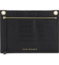 Kurt Geiger London Gemini Crocodile Embossed Leather Pouch Black
