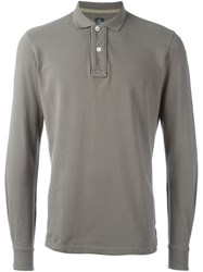 Eleventy Long Sleeve Polo Shirt Grey