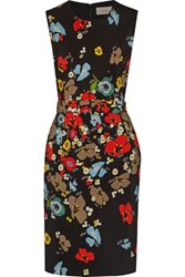 Preen By Thornton Bregazzi Issy Belted Floral Print Crepe Dress Black