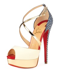 Christian Louboutin Cross Me Snakeskin And Leather Red Sole Sandal