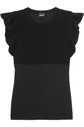 Just Cavalli Satin Jersey And Knitted Top Black