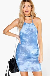 Boohoo Tie Dye Halterneck Bodycon Dress Navy