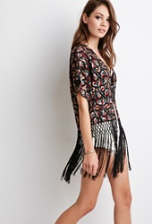 Forever 21 Fringed Floral Embroidered Kimono Black Multi