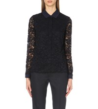 The White Company Collar Detail Floral Lace Blouse Navy